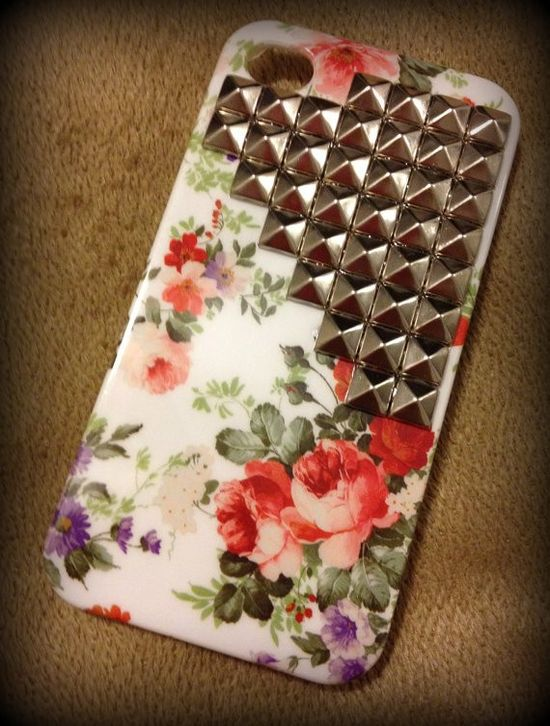 floral print studded iPhone case, fashion floral pointed rivet iPhone case #floral #print #studded #iPhone #Case www.loveitsomuch.com