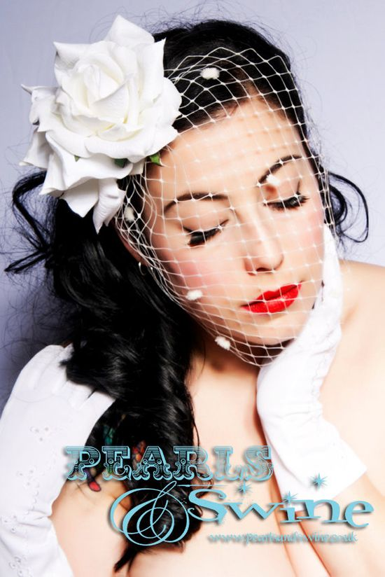 White Rose Bridal Birdcage Veil Wedding Hat Hair Accessory Fascinator Headpiece Bride Veling. £45.00, via Etsy.
