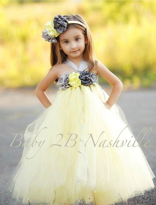 Flower Girl Tutu Dress in Yellow and Gunmetal 7-8 Girls, $128.00