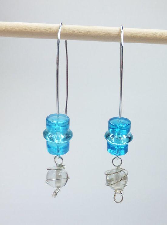 Aqua and Clear Glass Beads on Long SilverPlated Earwires by tzteja, $12.00  #jewelry, #earrings, #beaded, #designsbytamiza, #handmade, #ooak, #glass, #aqua, #blue, #dangleearrings