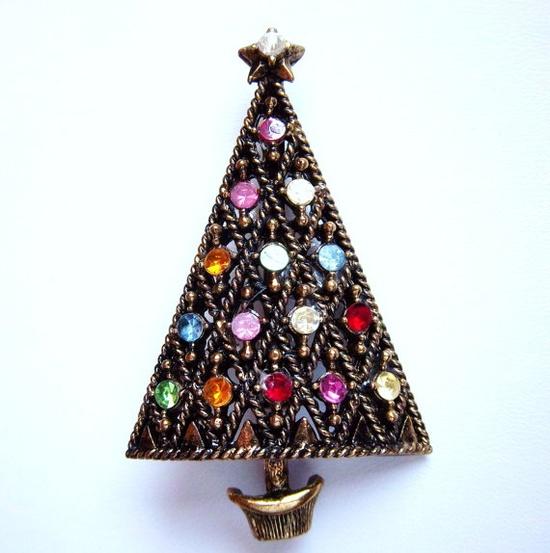 Vintage Christmas Tree Pin Brooch   Signed HOLLYCRAFT, Rhinestones