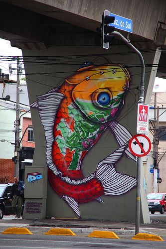 Binho Ribeiro - cool koy fish and wonderful graffiti art