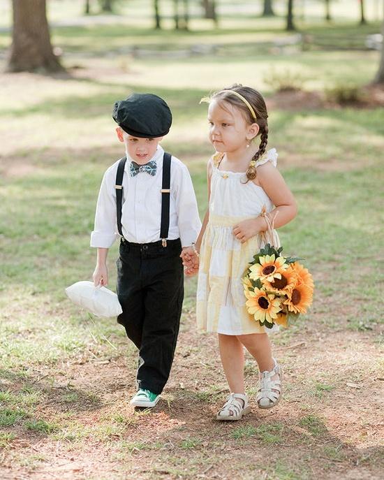Ring bearer and flower girl.