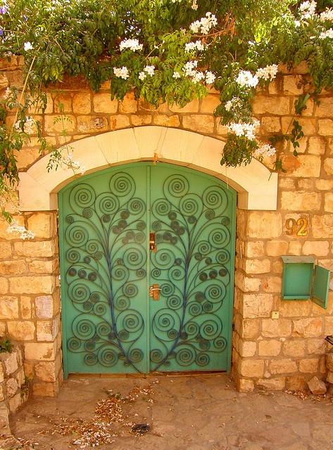 Green decorated door.
