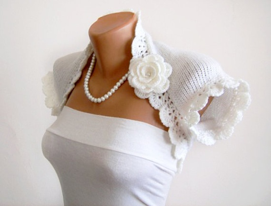 Bridal Shrug in White with Crocheted Flower Pin Brooch by vara, $56.00