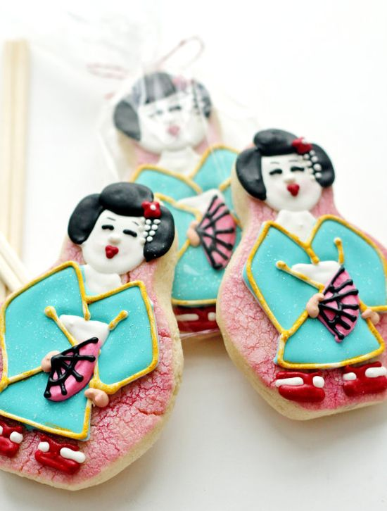 Japanese Geisha Decorated Sugar Cookies by SugarLaneBakeShop, $42.20