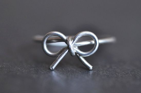 TINY BOW sterling silver wire wrap ring by muyinmolly on Etsy >> This is just too lovely!