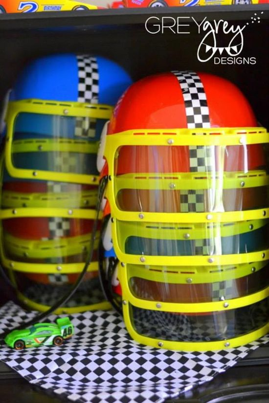 Party hats at a Two lledega Race Car Party with Lots Really Cool Ideas via Kara's Party Ideas