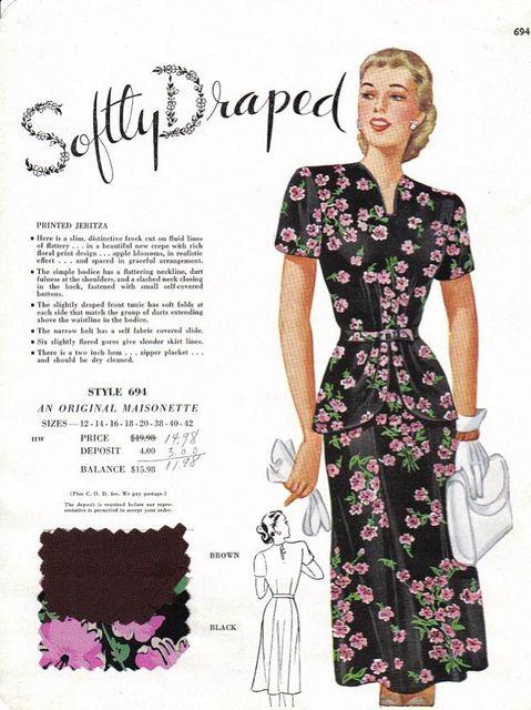 Masionette Frocks salesman's sample, late 1940s. #vintage #1940s #dresses #fashion