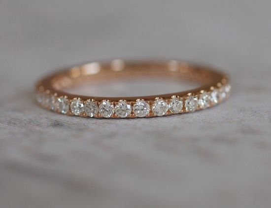 A circlet of sparkling diamonds. 2mm full eternity diamond band - rose, white or yellow gold -made to order. $1,200.00 CAD.
