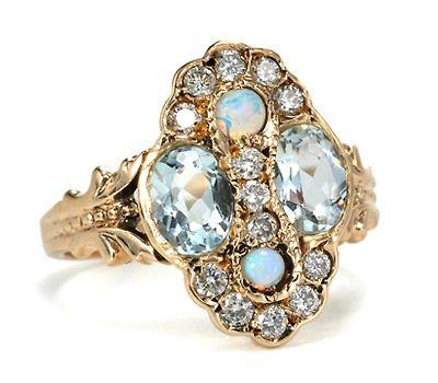 Aquamarines, Opals, & Diamonds