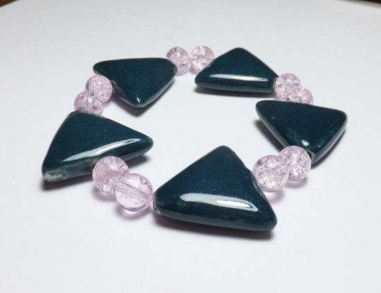 Peacock Porcelain Triangle and Pink Glass Beaded Stretch by tzteja, $10.00  #jewelry, #bracelet, #beaded, #designsbytamiza, #handmade, #ooak, #glass, #porcelain, #ceramic, #triangle, #delta, #pink, #peacock, #teal