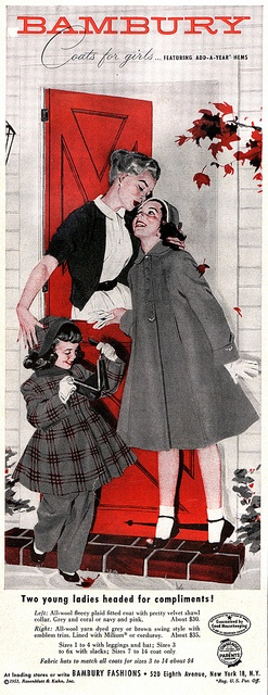 What a wonderfully charming 1950s ad for children's coats. #mother #children #daughter #kids #clothes #coats #vintage #1950s