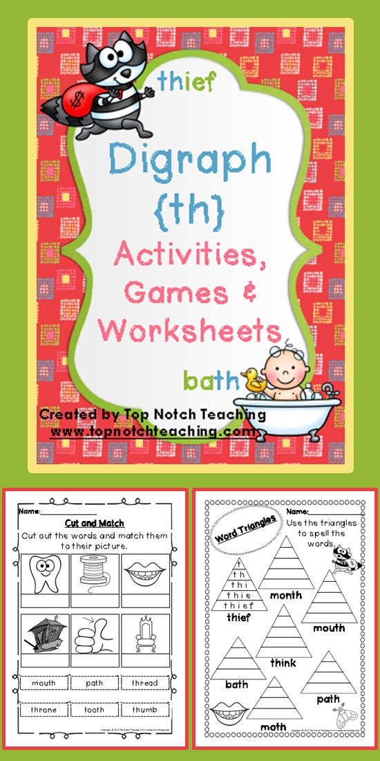 This pack includes fun, hands on activities and games for teaching the digraph 'th'.  These activities are great for individual or small group work.  $ www.teacherspayte...