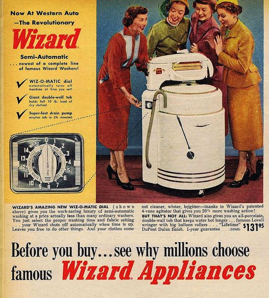 Wizard Appliances ad, 1940s. #vintage #1940s #homemakers #laundry #washing_machines