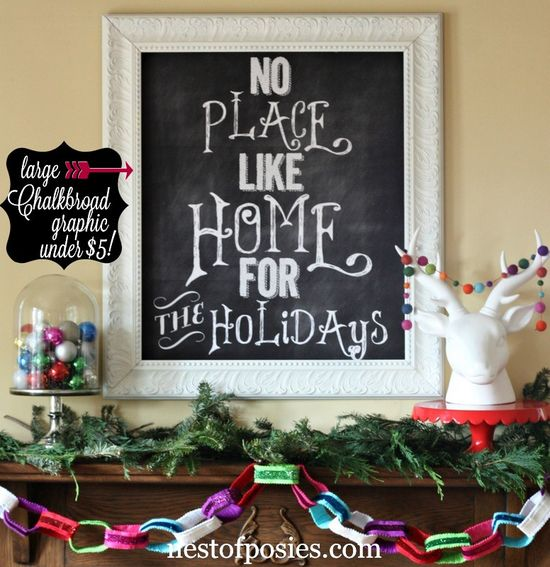 Turn a #Printable or #Chalkboard graphic into a Poster for less than 5 dollars + my Christmas Mantel via Nest of Posies