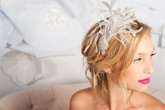 grey feather headband by tessa kim