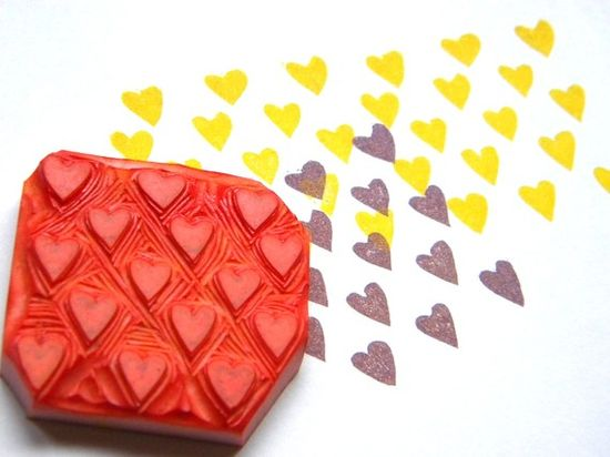 Rubber stamp hand carved mini hearts pattern