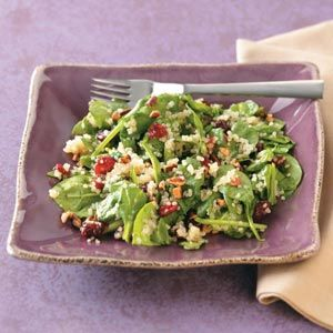 Quinoa Wilted Spinach Salad Recipe from Taste of Home -- shared by Sharon Ricci of Mendon, New York  #healthy  #quick