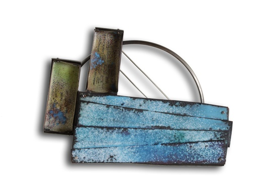 "Brooch ""Mediterranean Sea"" from the ""Impossible Landscapes"" series. 7 x 9,5 x 0.5 cm Oxidized nickel silver and enameled copper."