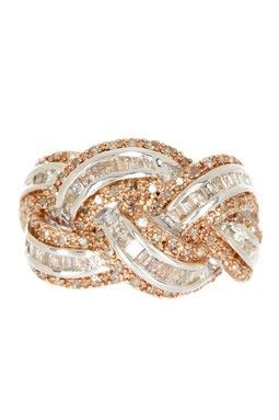 Braided champaign and white diamond ring.