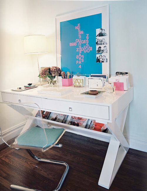 Campaign style desk + lucite chair