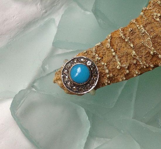 vintage turquoise & diamond ring