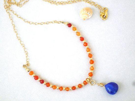Carnelian, Lapis Lazuli,Gold Filled, chain necklace. Love the color scheme
