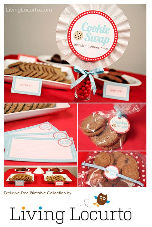 FREE Party Printables! Cookie Swap Party Collection by Amy at LivingLocurto.com #Christmas