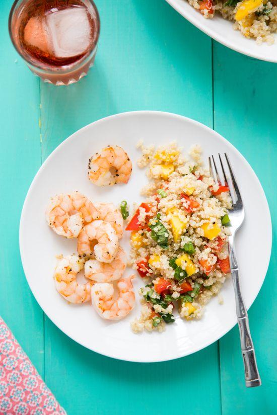 Tropical Quinoa + Roasted Shrimp Recipe. #quinoa #recipes