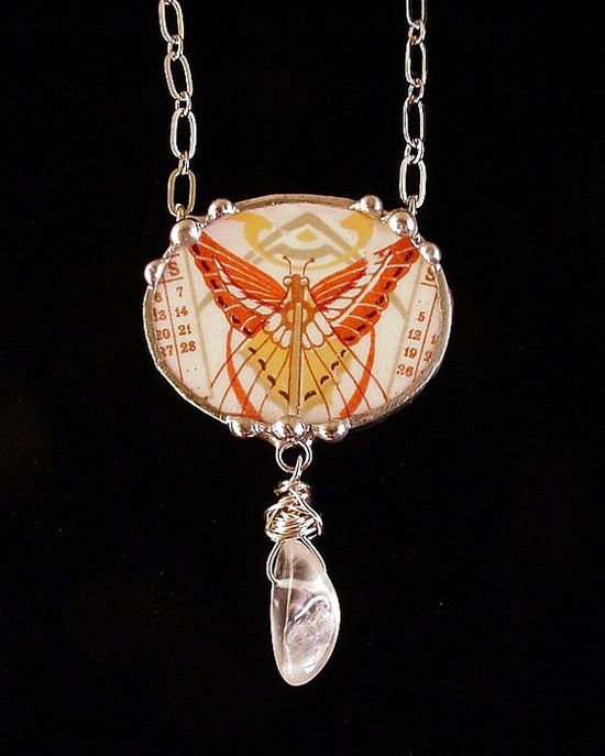 Broken china jewelry necklace oval antique butterfly art nouveau china