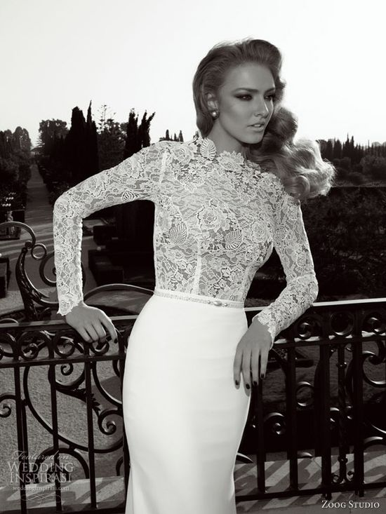 zoog studio wedding dresses 2013 long sleeve sheath bridal gown guipure lace bodice