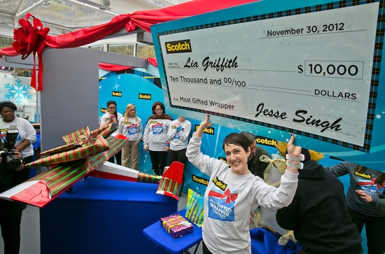 Lia Griffith of Portland, OR took home the title of 2012 Scotch Brand Most Gifted Wrapper!