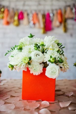 flower arrangements in neon square boxes // styled by EmersonEvents.com // photo by AmandaWatsonPhoto...