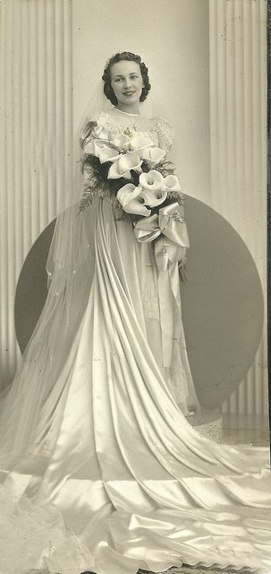 Circa 1930s bride - ? her dress and ? her bouquet!