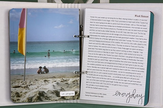 Inspiration: Project Life simplified. One photo per week along with a simple page of journaling.