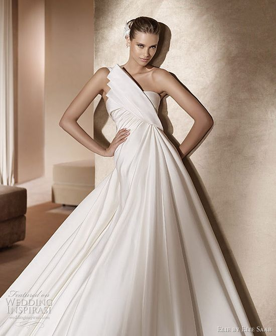 Elie by Elie Saab 2011 Pronovias bridal collection - Temis one-shoulder wedding gown