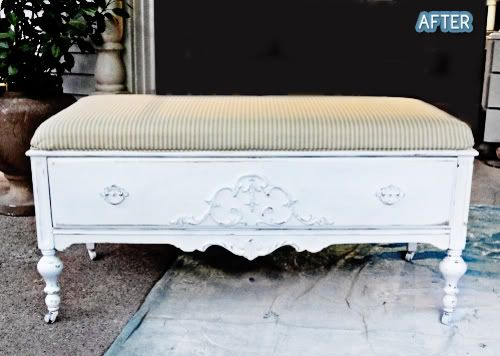 Turn the bottom half of an old dresser into a bench.