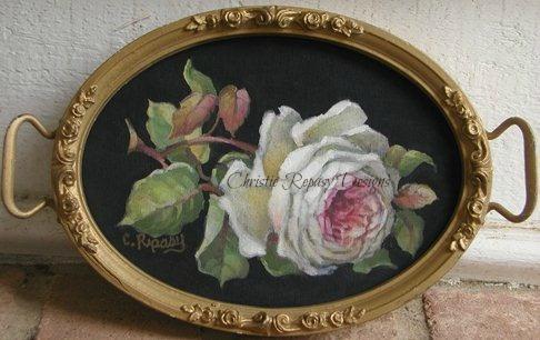 handpainted rose on black vintage fabric~ C.Repasy