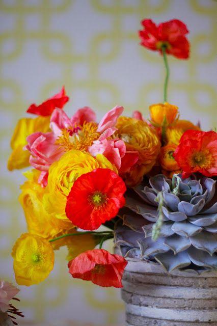 Flower arrangement texture and colors.