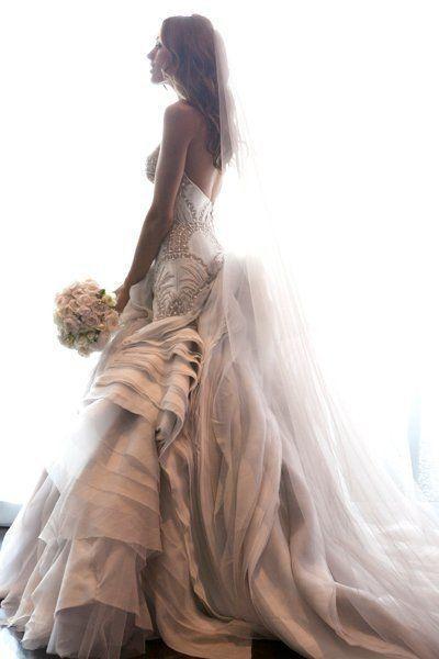 wedding dress pink lots of ruffles!