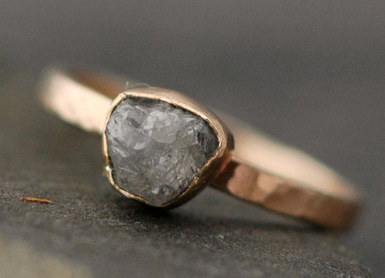 Rough Large Diamond Engagement Ring in Recycled 14k by Specimental, $925.00