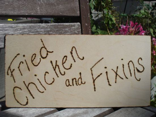 Fried Chicken and Fixins Wood Sign for Outdoor by KarmaExpressions, $7.00