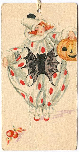 Vintage Halloween Ephemera ~ Clown w/ Bat and Jack O' Lantern Tally Card