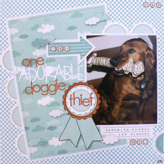 ADorable Doggie Thief - Scrapbook.com - #scrapbooking #layout #pets #bellablvd