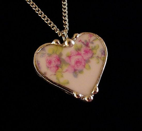 Antique French porcelain pink roses broken china jewelry heart pendant necklace