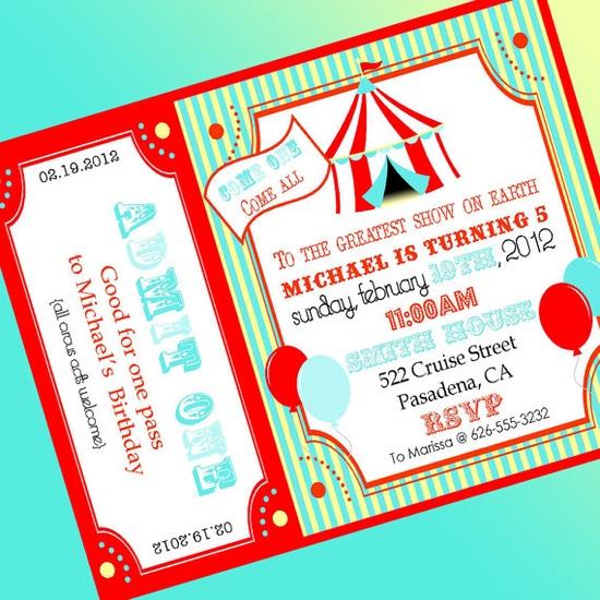 Circus Invitation Carnival Invitation  Aqua by ABlissfulNestShop, $15.00
