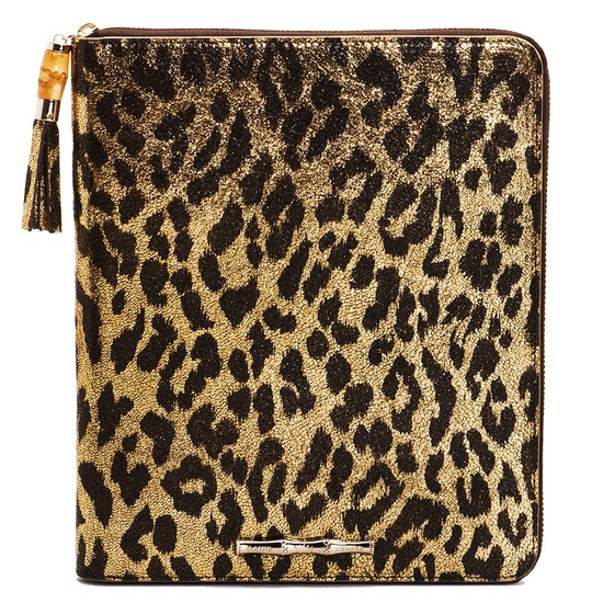 Gold Metallic Cheetah Zip iPad Case