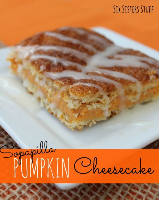 Sopapilla Pumpkin Cheesecake from SixSistersStuff.com.  The perfect pumpkin dessert for fall! #recipes #pumpkin #cheesecake #dessert