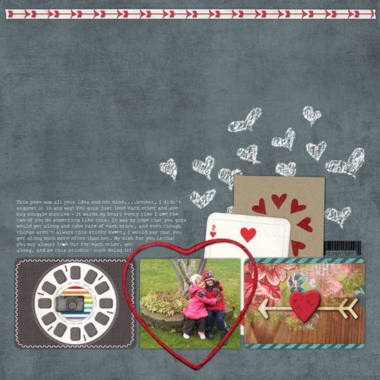 chalkboard style in a scrapbook page from Jess at DesignerDigitals